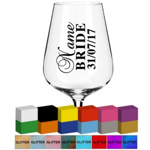 Wedding Champagne Flute Personalised Glass / Mug Decal / Sticker / Graphic