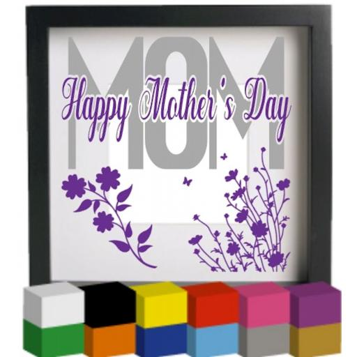 Mom Happy Mother's Day Vinyl Glass Block / Photo Frame Decal / Sticker / Graphic