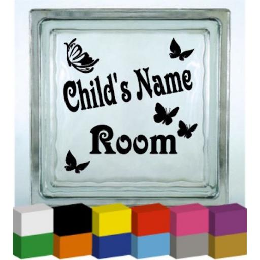 Personalised Child's Room Butterfly Vinyl Glass Block / Photo Frame Decal / Sticker/ Graphic