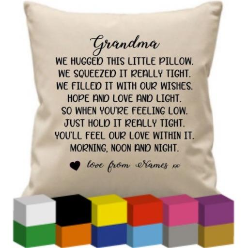Cushion Cover with We Hugged this little pillow Personalised