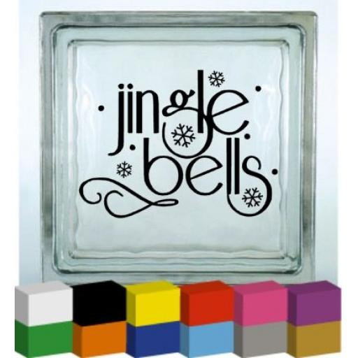 Jingle Bells Vinyl Glass Block Decal / Sticker / Graphic