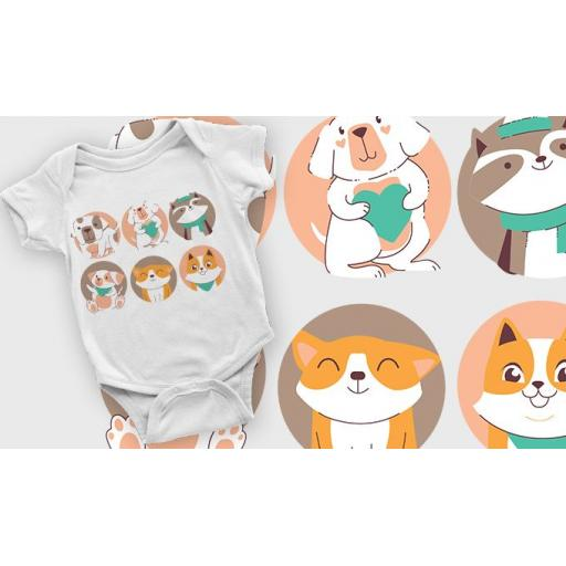 Six Baby Animals Printed Short Sleeved Body Suit