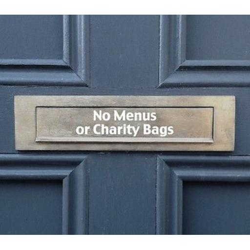 No Menus or Charity Bags Letterbox Decal / Sticker / Graphic