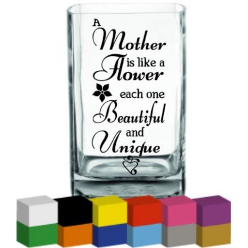 A Mother is like a flower Vase Decal / Sticker / Graphic