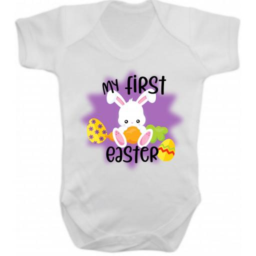 My First Easter Printed Short Sleeved Body Suit