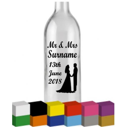 Mr & Mrs, Mr & Mr, Mrs & Mrs Personalised Bottle Vinyl Decal / Sticker / Graphic