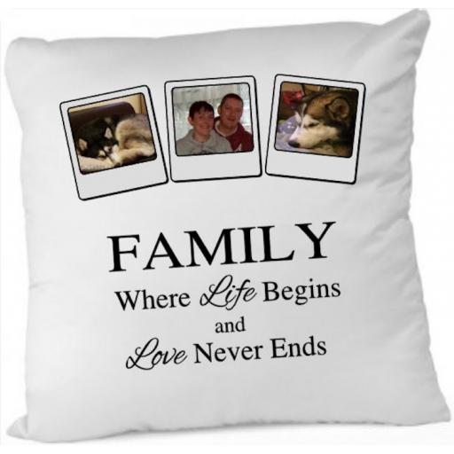 Family where life begins Photo Cushion Cover
