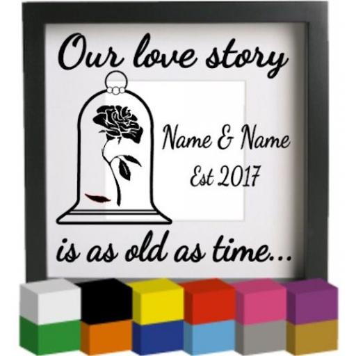 Our love story (Personalised) Vinyl Glass Block / Photo Frame Decal / Sticker / Graphic