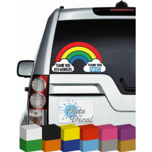 Thank You Key Workers, Thank You NHS Rainbow Vinyl Car, Van, 4x4, Window Decal / Sticker / Graphic