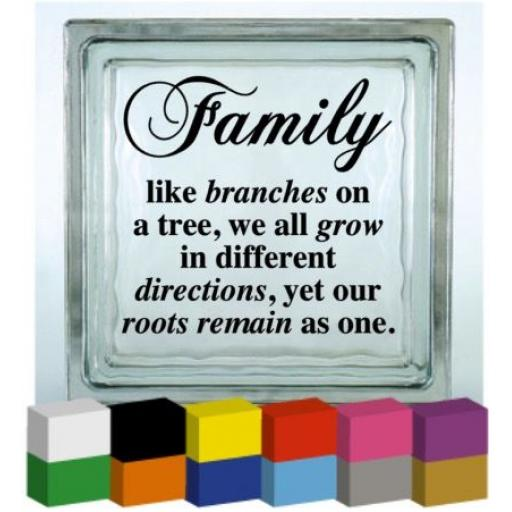 Family like branches on a tree V2 Vinyl Glass Block / Photo Frame Decal / Sticker / Graphic