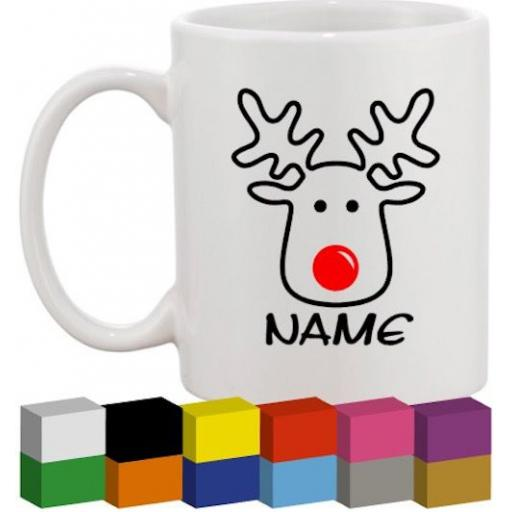 Reindeer Head Personalised Glass / Mug / Cup Decal / Sticker / Graphic