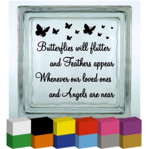 Butterflies will flutter Vinyl Glass Block / Photo Frame Decal / Sticker/ Graphic