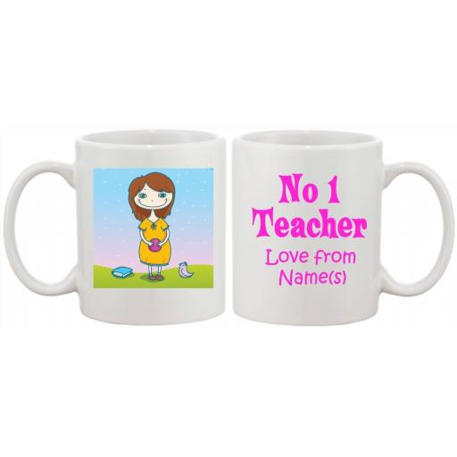 No 1 Teacher Pink Personalised Mug