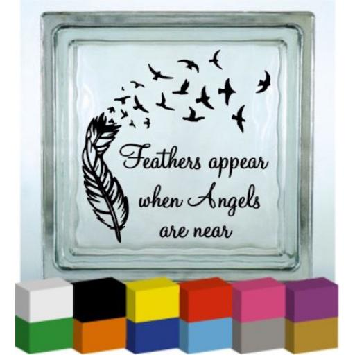 Feathers Appear Vinyl Glass Block / Photo Frame Decal / Sticker / Graphic