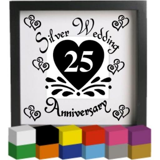 Silver Wedding Anniversary Vinyl Glass Block / Photo Frame Decal / Sticker / Graphic