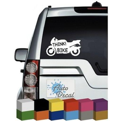 Think Bike in Motorcycle Shape Vinyl Car, Van Window, Bumper Sticker / Graphic
