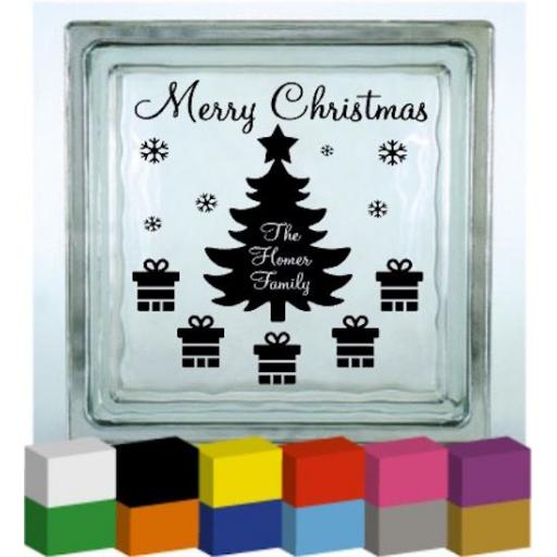 Merry Christmas Tree Presents (Personalised) Vinyl Glass Block Decal / Sticker / Graphic