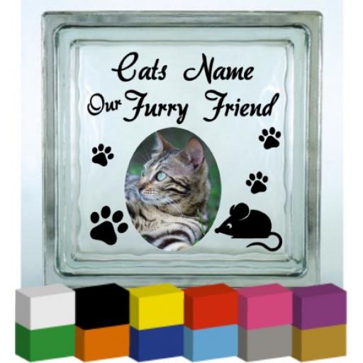 Our Furry Friend (Cats Name) Vinyl Glass Block / Photo Frame Decal / Sticker/ Graphic