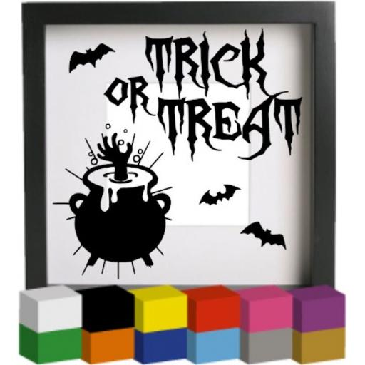 Trick or Treat V2 Halloween Vinyl Glass Block Decal / Sticker / Graphic