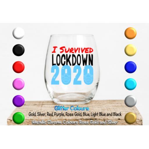 I survived lockdown 2020 Glass / Mug Decal / Sticker / Graphic