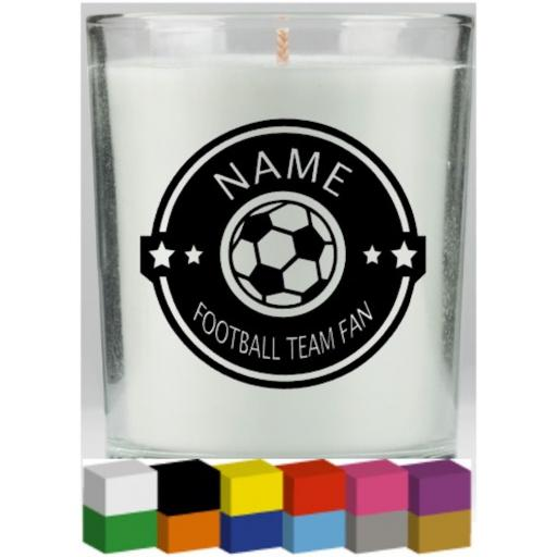 Football Fan Personalised Candle Decal / Sticker / Graphic