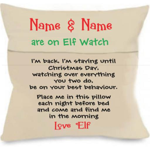 Elf Watch Personalised Cushion Cover with Pocket