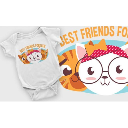 Best Friends Forever Printed Short Sleeved Body Suit