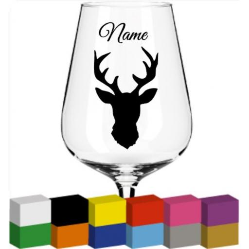 Deer Head personalised Glass / Mug / Cup Decal / Sticker / Graphic