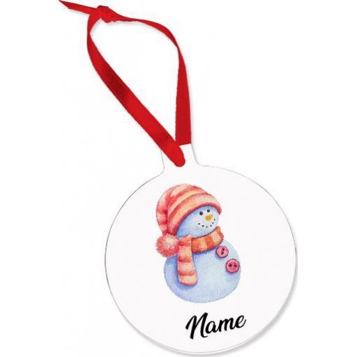 Snowman Name Aluminium Ornament / Bauble