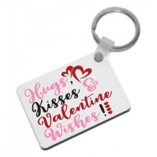 Hugs, Kisses & Valentine Wishes Keyring
