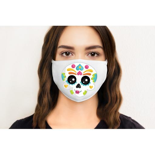 Sugar Skull Cute 2 Face Mask