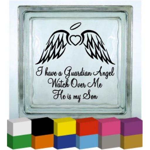 I have a guardian angel (Personalised) Vinyl Glass Block / Photo Frame Decal / Sticker / Graphic