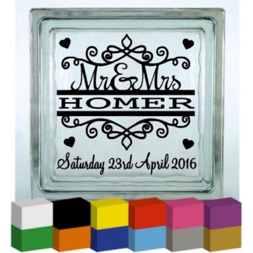 (Personalised) Mr & Mrs Surname Vinyl Glass Block / Photo Frame Decal / Sticker/ Graphic