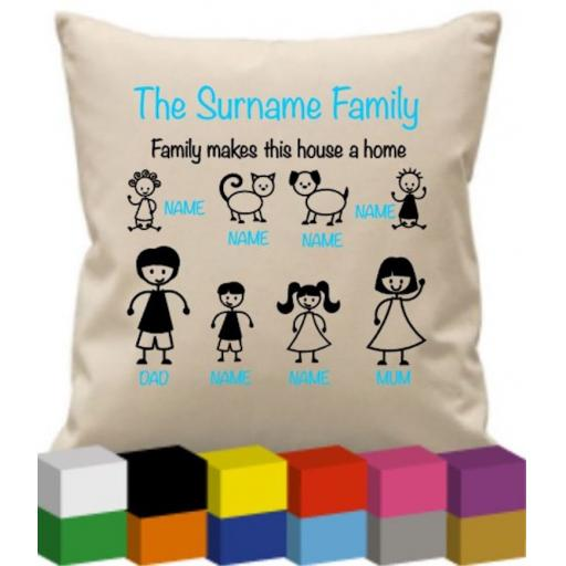 Cushion Cover with The Surname Family (personalised)
