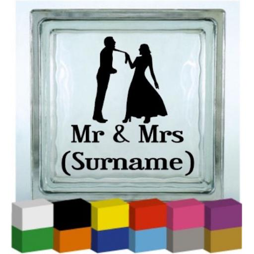 Tie Pull Mr & Mrs (Personalised) Vinyl Glass Block / Photo Frame Decal / Sticker/ Graphic