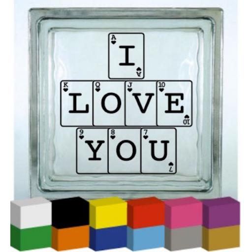 I love you Playing Cards Vinyl Glass Block / Photo Frame Decal / Sticker / Graphic