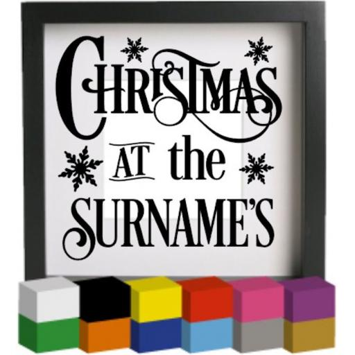 Christmas at the Personalised with surname V4 Vinyl Glass Block Decal / Sticker / Graphic
