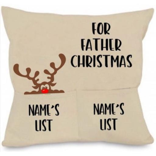 For Father Christmas Cushion Cover with Pockets