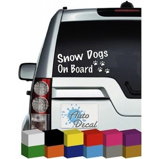 Snow Dogs On Board Novelty Vinyl Window Car Bumper, Decal / Sticker / Graphic