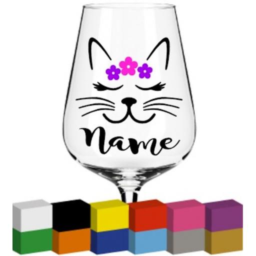 Cat Head Personalised Glass / Mug / Cup Decal / Sticker / Graphic