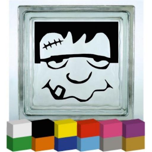 Frankenstein Face Halloween Vinyl Glass Block Decal / Sticker / Graphic