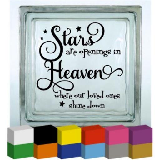 Stars are openings in Heaven Vinyl Glass Block / Photo Frame Decal / Sticker / Graphic
