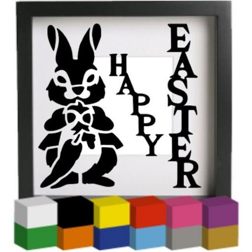 Happy Easter Bunny Vinyl Glass Block / Photo Frame Decal / Sticker / Graphic