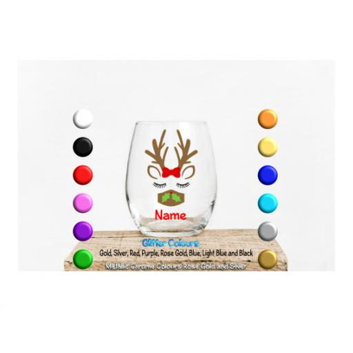 Reindeer mask (Personalised) Glass / Mug Decal / Sticker / Graphic
