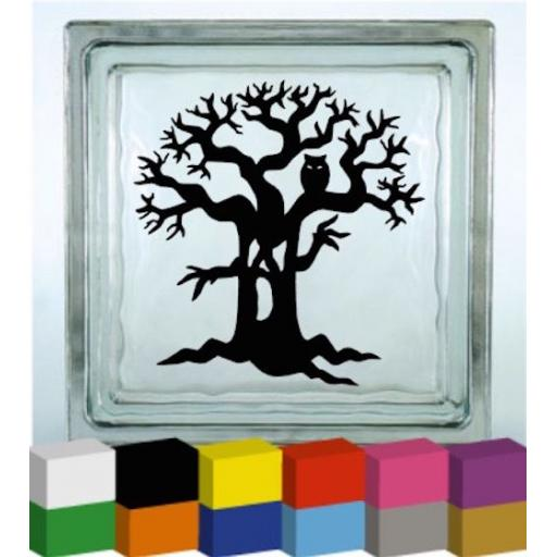 Spooky Tree Vinyl Glass Block Decal / Sticker / Graphic