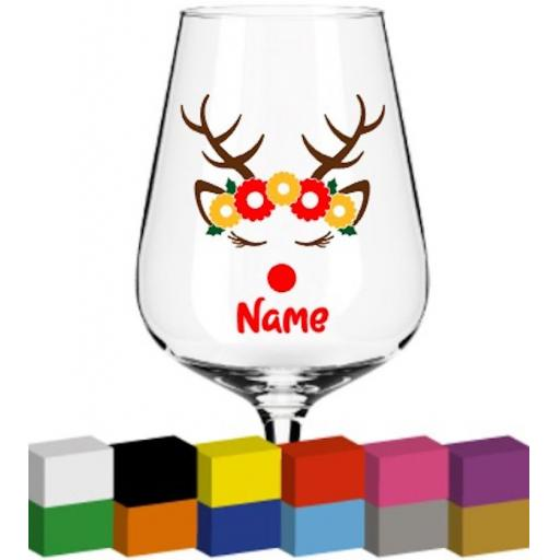 Reindeer Head with flowers Personalised Glass / Mug / Cup Decal / Sticker / Graphic