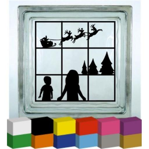 Children looking for santa Vinyl Glass Block Decal / Sticker / Graphic