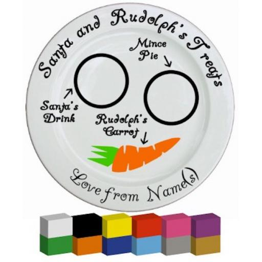 Santa and Rudolph's Treat Plate (Personalised) Vinyl Decal / Sticker / Graphic