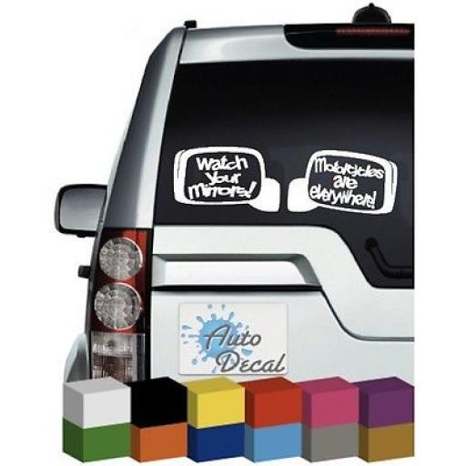 Watch Your Mirrors (x2) Vinyl Car, Van Window, Bumper Sticker / Graphic