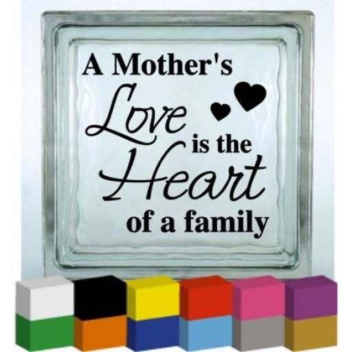 A Mother's Love Vinyl Glass Block / Photo Frame Decal / Sticker / Graphic